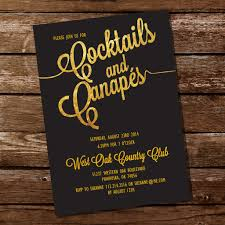 cocktails and canapes gold cocktail and canapes invitation