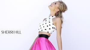 sherri hill 32210 prom dress polka dots pink satin skirt two