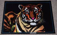 TIGER Big Cat Flocked Blacklight Poster Vintage 1970s Western Graphics