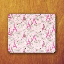 Paris Cartoon Mouse Pad Pink Vintage Wallpaper Office Deco Desk Word Personalized Gift