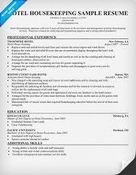 Hotel Housekeeping Resume Resumecompanion