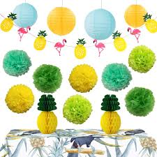 InBy Hawaiian Luau Party Decoration Tropical Supplies Kit Tissue Paper Pom Pom And Lantern Pineapple