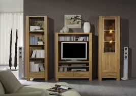 wohnwand wohnzimmerwand bücherregal vitrine tv regal eiche massiv geölt natur lanatura