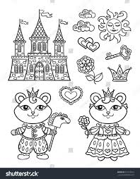 Vector Baby Coloring Page Fairy Tale Prince Princess Bear Palace