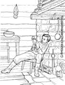 Boy Abe Lincoln Reading In A Log Cabin
