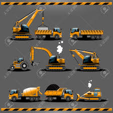 Construction Trucks. Construction Vehicles Types Vector Icon ...