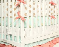 Coral And Mint Baby Bedding by Crib Bedding Coral Taupe Woodlands Baby Bedding Deer