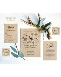 Vintage Wedding Invitation Rustic Set Printable Kraft