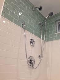 diy walk in shower glass subway tile dotted pencil tile