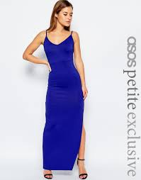 asos petite bodycon maxi dress with strappy back in blue lyst