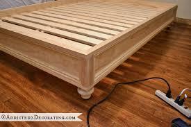 diy stained wood raised platform bed frame u2013 part 2 platform bed