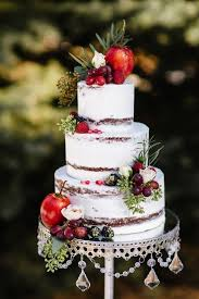 Semi Naked Wedding Cake With Silver Leaf Accents And Fall Fruits By Sablee