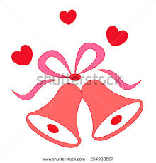 Illustration of a elegant red color wedding bells with hearts isolated n white background