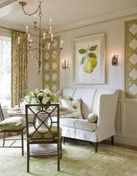 Victoria Neale Spring Green And White Dining Room The Trellis Design On Walls Was Made With Linen Tape Trim Same Is Used Settee