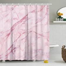 fay duschvorhang mit 12 haken rosa marmor rosa duschvorhänge set für badezimmer rosa 3d dekor wasserdichter polyester stoff 183 x 183