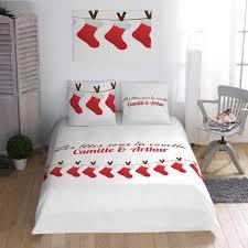parure de lit noël à personnalisé aux motifs de chaussettes decodeo