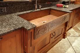 Sweet Single Copper Farmhouse Sink With Chrome Tap On Classy Wooden Kitchen Cabinet As Decorate Rustic Style Decors