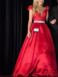 red ball gown evening dress prom dress plunging elegant pageant