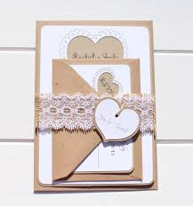 Burlap Lace Wedding Invitation Rustic Heart With A And Belly Band