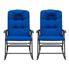 SunLife Outdoor Foldable Rocking Chair Set, Modern Patio/Backyard/Camping  Lounge Rockers With Blue Padded Cushions, Set Of 2