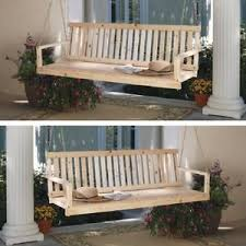 Image Is Loading Wooden Porch Swing Natural Rustic Style Hanging Patio