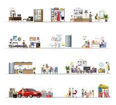 hausbau innenraum mit der garage gesetzt haus mit küche und