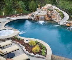 Stone Pool With Slide Hot Tub Diving Board