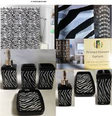amazon com 17 piece bath accessory set black zebra shower