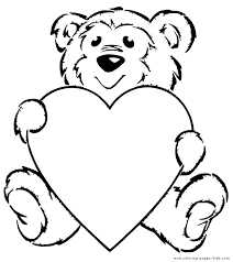 Teddy Bear With A Big Heart Color Page Animal Coloring Pages For Kids Thousands Of Free Printable