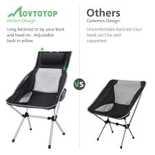MOVTOTOP Camping Chair With Adjustable Pillow Fishing ...