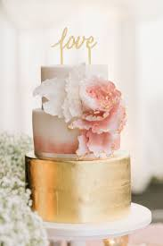Blush Gold Wedding Cake With Love Topper