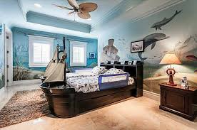 Traditional Kids Bedroom with Mural & Ceiling fan in Miami FL