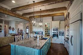 Rustic White Kitchen Cabinets Country Style With Painted Blue Island Porcelain Tile Floors And Granite