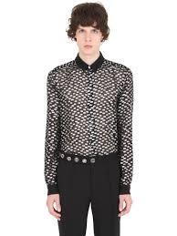 versus sheer silk shirt with lurex polka dots in black for men lyst