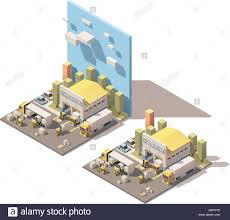 Vector Isometric Warehouse Building Icon With Trucks Loaded By Stock ...