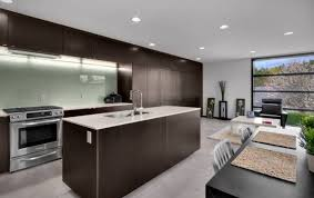 chocolate brown kitchen cabinet with modern recessed lighting for