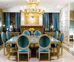 Golden And Blue Colors Vintage Furniture Large Crystal Chandelier For Dining Room Decorating In Style
