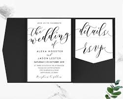 Black Loose Calligraphy Pocketfold Wedding Invitation Set Template