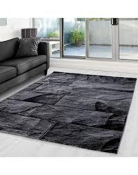 moderner designer wohnzimmer teppich mit steinmotiv parma 9250 schwarz grau