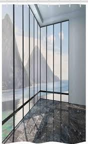 abakuhaus duschvorhang badezimmer deko set aus stoff mit haken breite 120 cm höhe 180 cm weiß berge meer landschaft kaufen otto