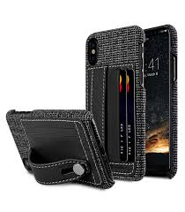 Holmes Series Fine Grid Genuine Leather Dual Card slot with stand