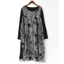 gray patchwork chiffon summer dress casual plus size stylish