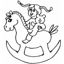 Girl On Rocking Horse Coloring Page