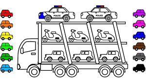 Learn Colors For Kids With Police Car Carrier Truck Coloring Pages Pertaining To Intended