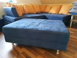 sofa couchgarnitur in blau mit kissen