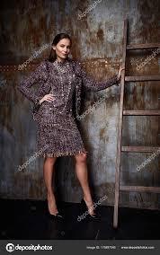 Beauty Woman Modell Tragen Stilvolles Design Trend Kleidung Wolle Cashm Stockbild