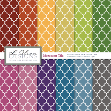 rainbow moroccan tile paper pack 12 digital paper patterns