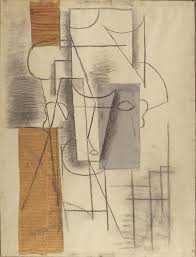 Still Life With Chair Caning Mood by Pablo Picasso Head Of A Man 1912 Charcoal Newspaper Colored
