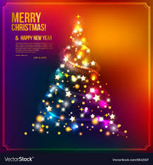 Christmas Tree Made From Lights Stars And Chain Vector Image