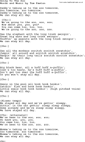 Going To The Zoo by Tom Paxton lyrics